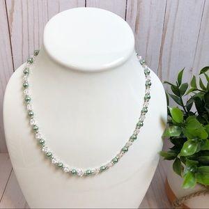 Jewelry - Swarovski Crystal & Sage Green Pearl Bead Necklace